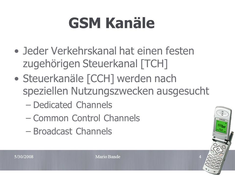 Handzettel GSM Kanäle. Jeder Verkehrskanal hat einen festen zugehörigen Steuerkanal [TCH]